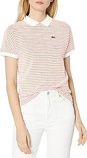 Lacoste Women's Short Sleeve Buttonless Striped Pique Polo Shirt