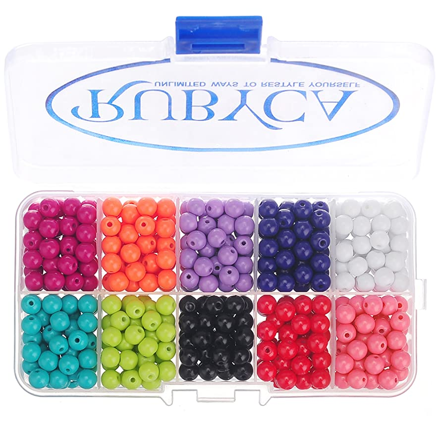RUBYCA Opaque Painted Druk Czech Glass Beads for Jewelry Making 8mm, Mixed Colors w/Container Box
