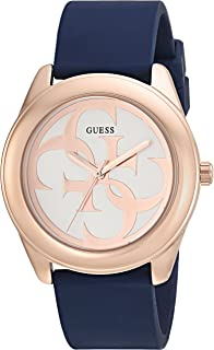 GUESS  Comfortable Rose Gold-Tone + Blue Stain Resistant Silicone Logo Watch. Color: Blue (Model: U0911L6)