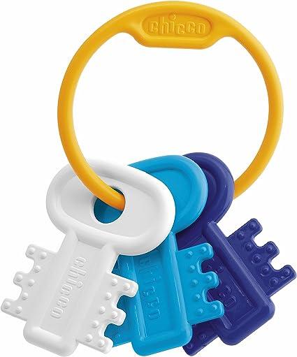 لعبة المضغ شيكو على شكل حلقة مفاتيح للاطفال، ازرق