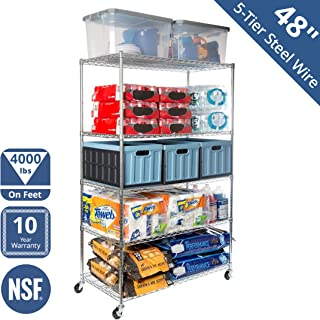 Seville Classics WEB564 UltraDurable Commercial-Grade 5-Tier NSF-Certified Steel Wire Shelving with Wheels, 48