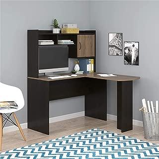 Mainstays Student Desk - Home Office Bedroom Furniture Indoor Desk - Easy Glide Accessory Drawer (Desk Only, Rodeo Oak) (L-Shaped Desk, Espresso/Rustic Oak)