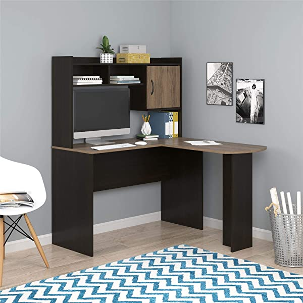 Mainstays L Shaped Desk With Hutch Multiple Colors L Shaped Desk With Hutch Espresso Rustic Oak