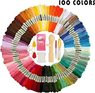 Looen Friendship Bracelet String Kit Embroidery Thread 100 Skeins Colors are Coded as DMC Embroidery Floss Cross Stitch Threads Include Floss Winder,Bobbin and Necessary Accessories-Christmas Gift