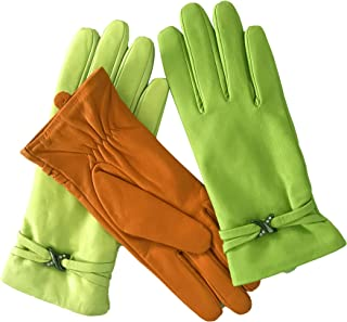 LANTINA Soft Winter Women's Colored Lambskin Leather Gloves Fully Faux Fur Lined