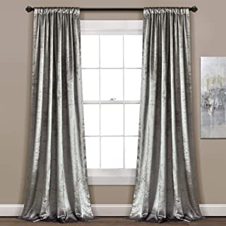 "Lush Decor Velvet Dream Solid Color Luxury Shimmery Window Curtain Panel Set (Pair), 84"" x 40"", Silver"