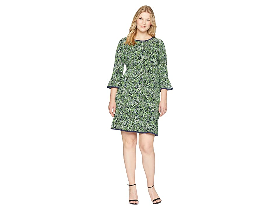 MICHAEL Michael Kors Plus Size Paisley Flounce Dress (True Navy/Green Apple Multi) Women