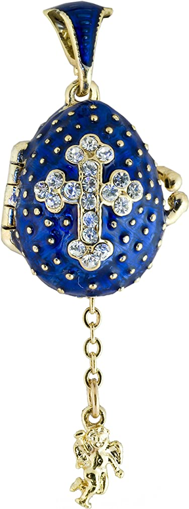 danila-souvenirs Russian Faberge Style Egg Pendant / Charm with Cross & Angel 0.9'' Blue #0729-11