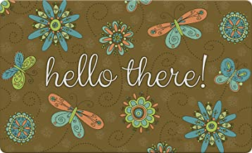 Toland Home Garden Hello Flowers and Butterflies Brown 18 x 30 Inch Decorative Floor Mat Colorful Butterfly Doormat