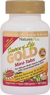NaturesPlus Source of Life Gold Mini-Tabs - 180 Vegetarian Tablets - High Potency, Organic Whole Food Multivitamin - with Probiotics & Antioxidants - Gluten-Free - 30 Servings