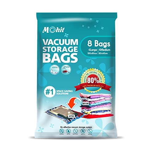 Vacuum Storage Bags - 8Pack (4 Extra Large (100x80cm) + 4 Medium (80x60cm) Premium Space Saver Compression Sealer Bags for Duvets, Bedding, Pillows, Blankets, Curtains.