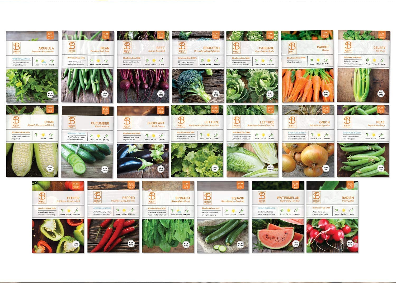 Bentley Seed Co. Set of 20 Vegetable Seeds for Planting - Gardening Seeds to Grow in a Garden or Indoors - Get your own Seeds for Planting Vegetables with Non GMO - Garden Seeds Vegetable Variety Pack