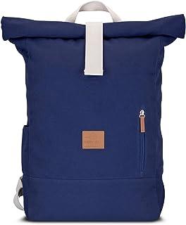 Rolltop Rucksack Damen & Herren Blau ADAM - JOHNNY URBAN Roll Top Backpack aus Baumwoll Canvas - Lässige Rucksäcke für Alltag, Uni, Reisen & Schule - Wasserabweisend & sehr flexibel