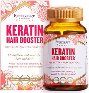 Reserveage, Keratin Hair Booster, Hair and Nails Supplement, Supports Healthy Thickness and Shine with Biotin, 60 capsules...