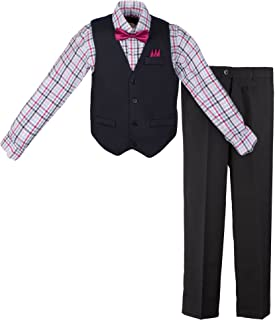 Vittorino Boys 4 Piece Suit Set with Vest Dress Shirt Tie Pants and Hankerchief