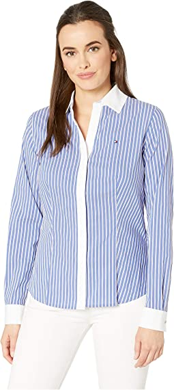 Stripe V-Neck Long Sleeve Cotton Shirt