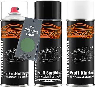 TRISTARcolor Autolack Spraydosen Set für Kunststoff Stoßstange für VW/Volkswagen LA6P Cosmicgrün Metallic/Cosmic Green Metallic Haftgrund Basislack Klarlack mit Weichmacher Sprühdose