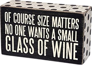 """Primitives by Kathy 30415 Polka Dot Trimmed Box Sign, 5"""" x 3"""", A Small Glass of Wine"""