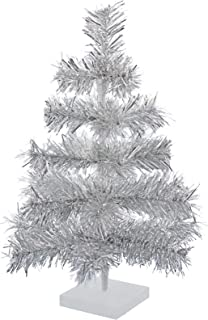 Lee Display 24'' Silver Christmas Tinsel Tree Retro Style Silver Feather Tinsel Tree