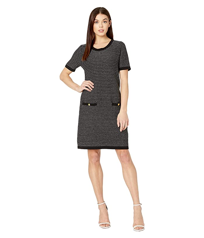 Milly  Tweed Knit A-Line Dress (Black Multi) Womens Clothing