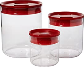 ClickClack Pantry Rount Set of 3 Small, with red lids