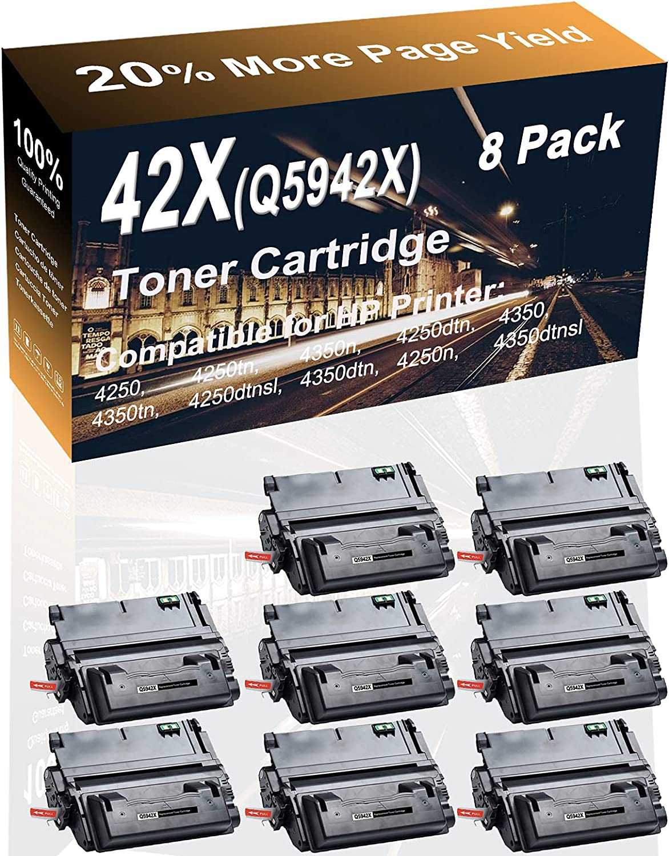 8-Pack (Black) Compatible High Capacity 42X (Q5942X) Laser Printer Toner Cartridge use for HP 4250, 4250tn, 4350n, 4250dtn Printer