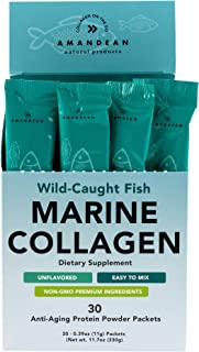 Amandean Marine Collagen Peptides Stick Packs | Wild-Caught Fish | 30 Single Use Individual Convenience Packets | Anti-Aging, Paleo Friendly, Non-GMO, Zero Carbs, Unflavored, High Bioavailability Mix