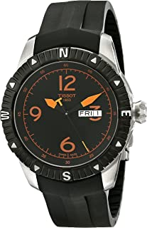 Tissot Men's 'T Navigator' Black/Orange Dial Black Rubber Strap DateDay Automatic Watch T062.430.17.057.01