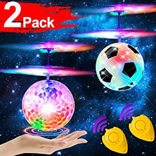 GBD 2 Pack RC Flying Ball Toys for Kids Boys Girls Teens Holiday Birthday Gifts Light Up Ball Drone Infrared Induction RC Helicopter with Remote Controller for Indoor and Outdoor Games