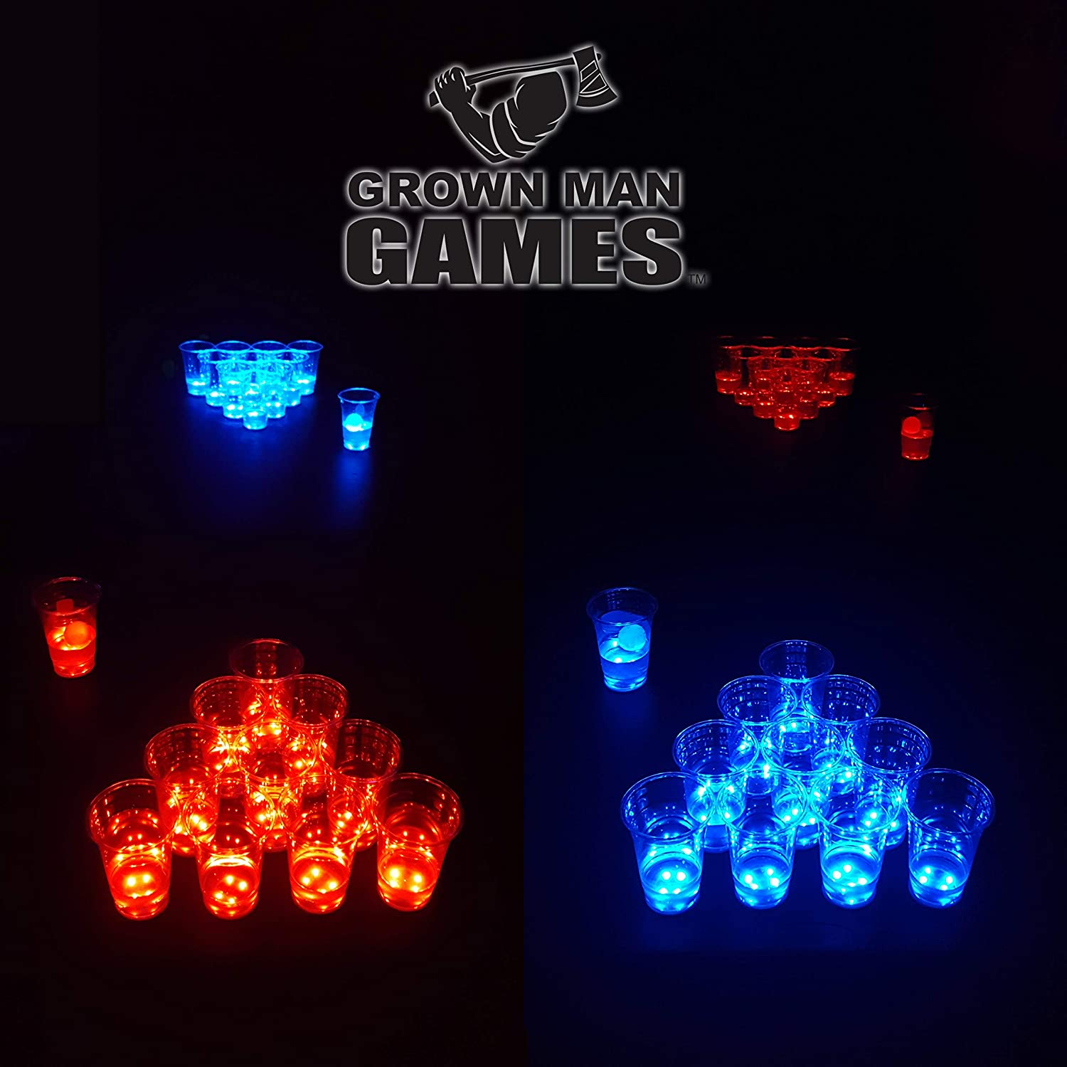 Grown Man Games LED Max 79% OFF Beer Pong Set w Glow Deluxe and in Cups Po Dark The