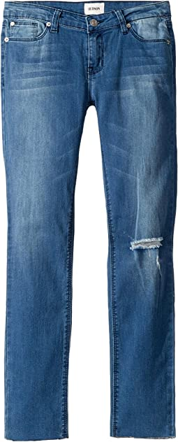 Five-Pocket Raw Hem Ankle Skinny - French Terry in Second Hand Blue (Big Kids)