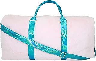 Disco Vibe Fur Duffel Travel Bag -Girls & Teen Accessories - Pink Fur with Aqua Iridescent Accents
