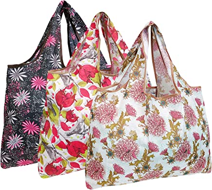 allydrew Large Foldable Tote Nylon Reusable Grocery Bag, 3 Pack, Pink Floral Bloom