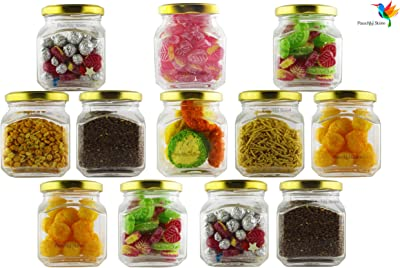 panchhi store 250 ml Glass jar & Container with airtight lid |Set of 12 | - by panchhi store