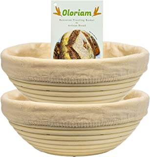 Banneton Bread Proofing Basket by Oloriam (9 inch 2 Set) NOT MADE IN CHINA. Round handmade 100% rattan & Li...