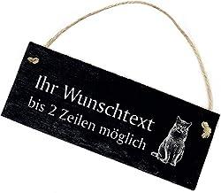 Deurbordje deurbel - British Korthaar kat met tekst naar keuze - leisteen gegraveerd 22x8cm