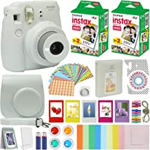 Fujifilm Instax Mini 9 Instant Camera Smokey White with Carrying Case + Fuji Instax Film Value Pack (40 Sheets) Accessorie...