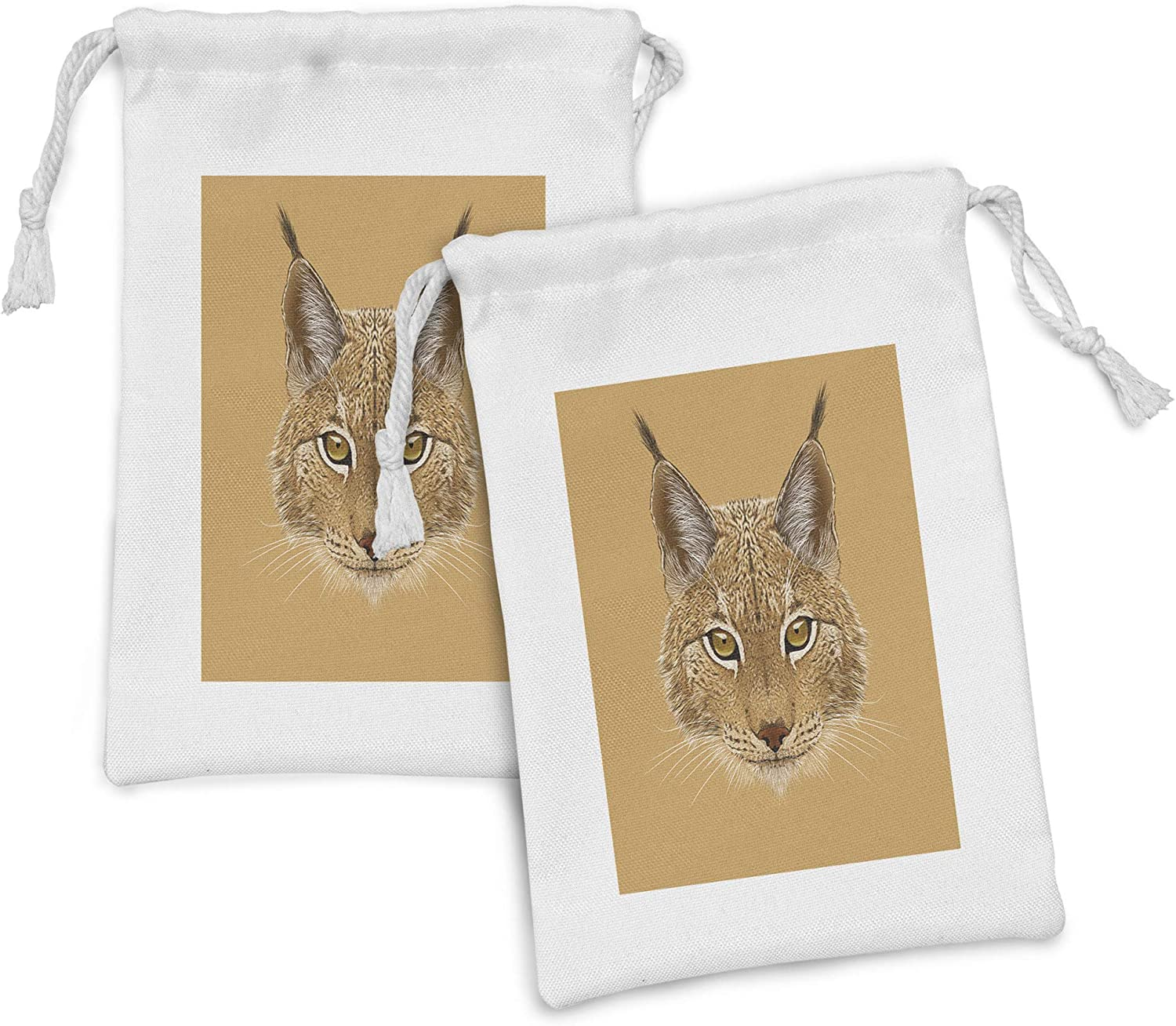 Lunarable Now on sale Animal sale Fabric Pouch Set of Portrait Lynx S with Cat 2