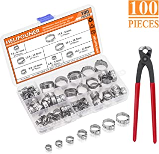 HELIFOUNER 100 Pieces 6-21mm 304 Stainless Steel Single Ear Stepless Hose Clamps with Pincers Kit