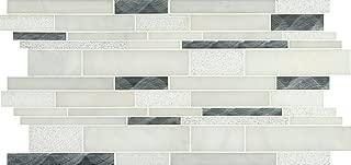 M S International Moderno Blanco Interlocking 12 In. X 18 In. X 8 mm Metal/Stone Blend Mesh-Mounted Mosaic Tile, (15 sq. ft., 10 pieces per case)