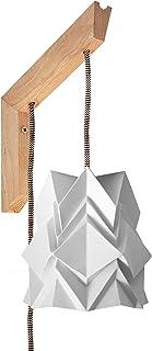 Apparecchio di illuminazione da parete Origami - staffa in legno e piccolo paralume bianco neve