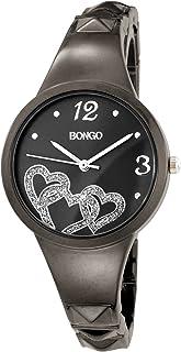 BONGO Women's BG3236 Analog Black Dial Gun-Metal Bangle Bracelet Watch