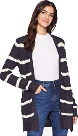 Lace-Up Long Sleeve Open Cardigan w/ Pocket