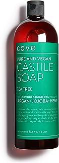 Cove Castile Soap Tea Tree - 33.8 oz / 1 Liter - Organic Argan, Hemp, Jojoba Oils
