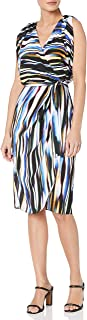 Nicole Miller womens Streaky Printed Faux-wrap Dress With Belt Dress