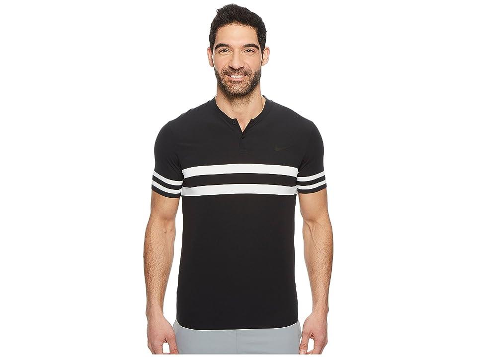 Nike Court Dry Advantage Stripe Tennis Polo (Black/Black/Black) Men