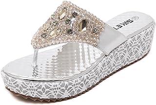 e9519460d902ce D2C Beauty Women s Rhinestone Beads Platform Thongs Flip-Flop Sandals
