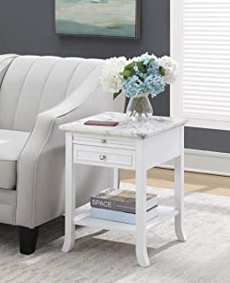 Convenience Concepts American Heritage Logan End Table with Drawer and Slide, White Faux Marble Top/White