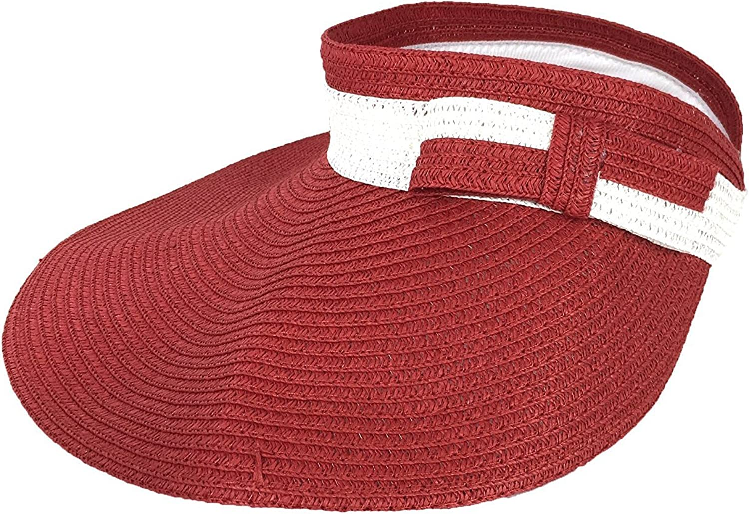 MAGID Women's Two-Tone Packable Wide Brim Straw Sun Visor (Red/White)