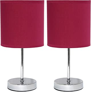Simple Designs LT2007-WNE-2PK Chrome Mini Basic Fabric Shade 2 Pack Table Lamp Set, Wine